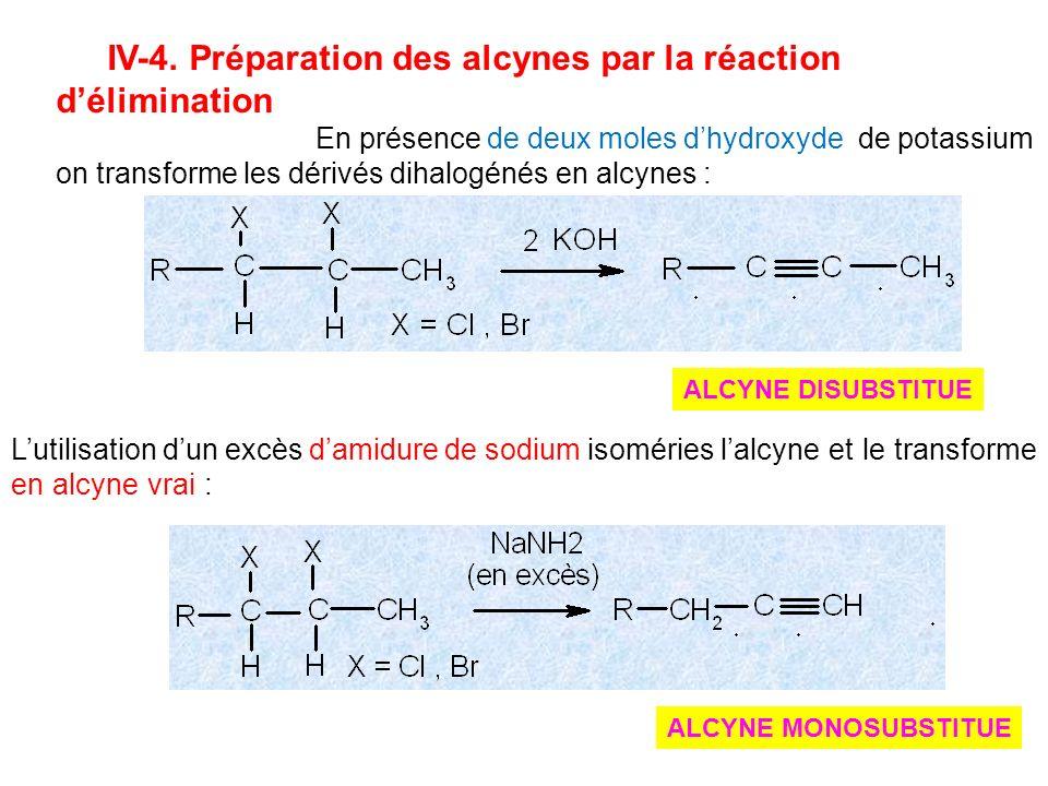 IV-4. Préparation des alcynes par la réaction délimination En présence de deux moles dhydroxyde de potassium on transforme les dérivés dihalogénés en