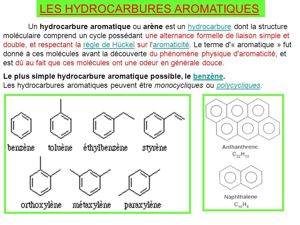 LES HYDROCARBURES AROMATIQUES Un hydrocarbure aromatique ou arène est un hydrocarbure dont la structure moléculaire comprend un cycle possédant une al