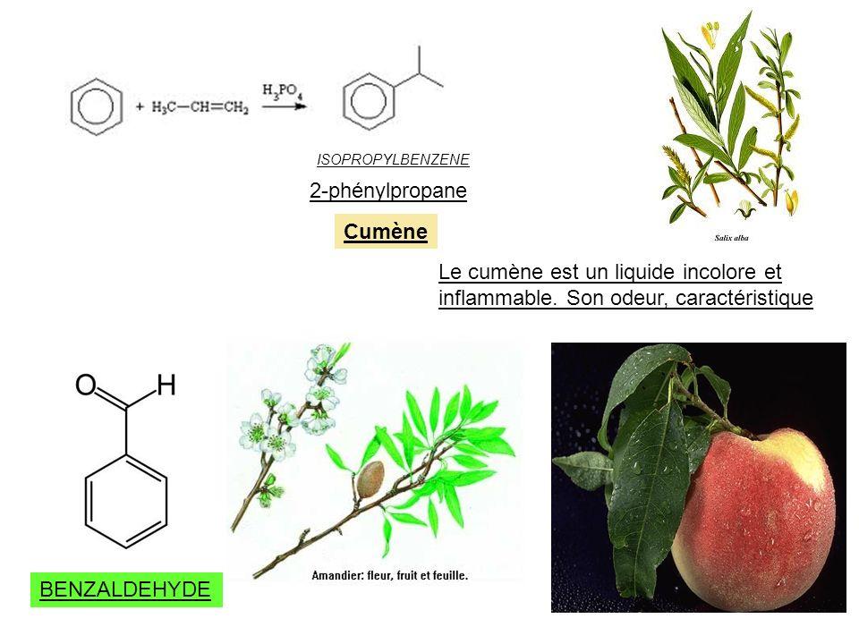 ISOPROPYLBENZENE Cumène 2-phénylpropane Le cumène est un liquide incolore et inflammable. Son odeur, caractéristique BENZALDEHYDE