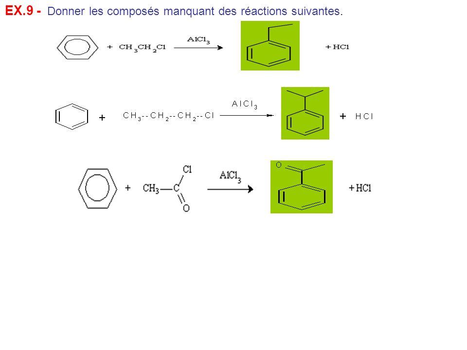 EX.9 - Donner les composés manquant des réactions suivantes.
