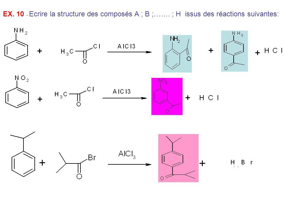EX. 10 - Ecrire la structure des composés A ; B ;……. ; H issus des réactions suivantes: