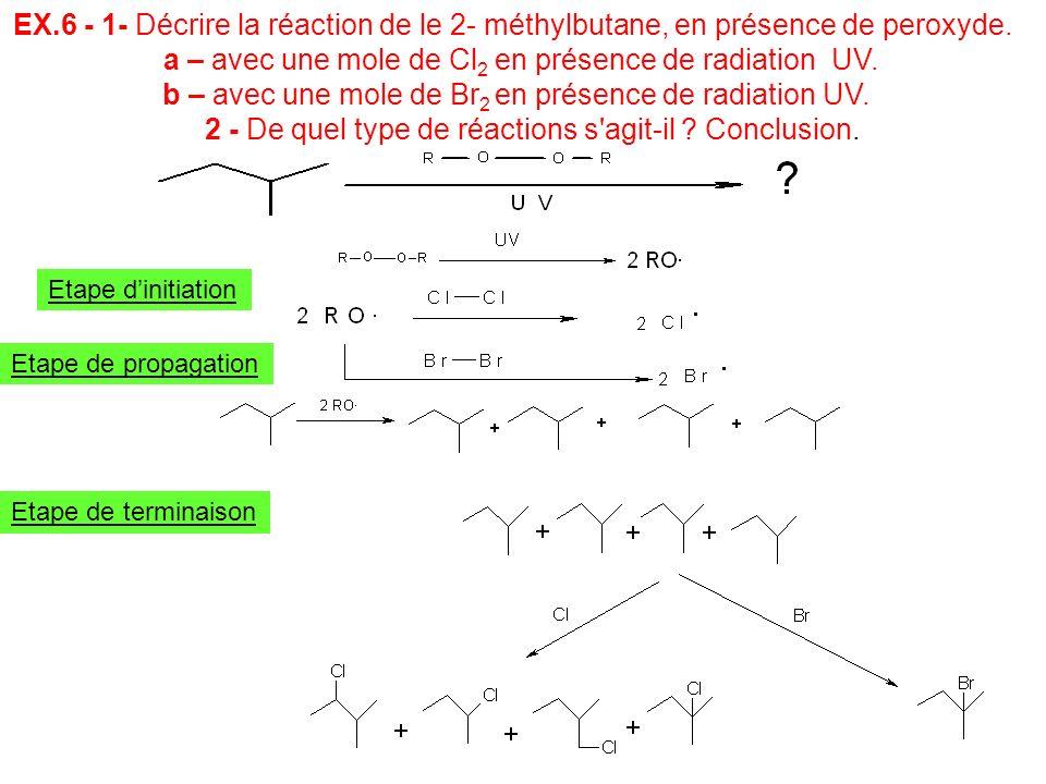 EX.6 - 1- Décrire la réaction de le 2- méthylbutane, en présence de peroxyde. a – avec une mole de Cl 2 en présence de radiation UV. b – avec une mole