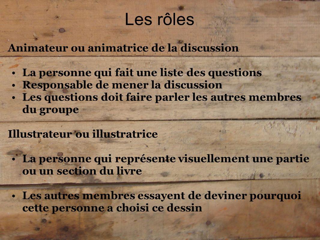 Les rôles Animateur ou animatrice de la discussion La personne qui fait une liste des questions Responsable de mener la discussion Les questions doit