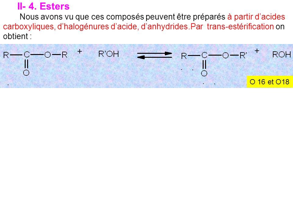 II- 4. Esters Nous avons vu que ces composés peuvent être préparés à partir dacides carboxyliques, dhalogénures dacide, danhydrides.Par trans-estérifi