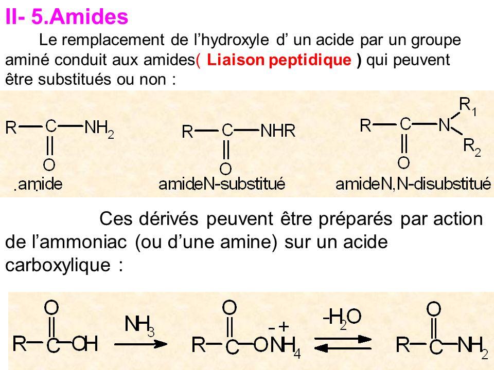 II- 5.Amides Le remplacement de lhydroxyle d un acide par un groupe aminé conduit aux amides( Liaison peptidique ) qui peuvent être substitués ou non