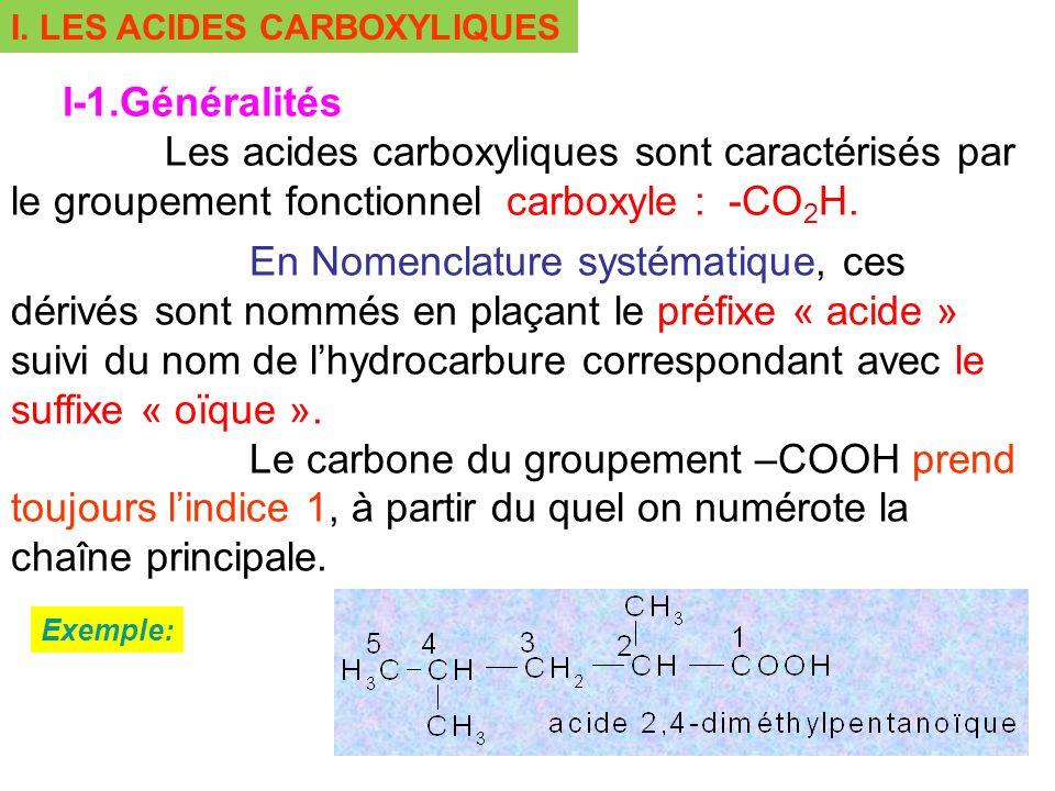 I. LES ACIDES CARBOXYLIQUES I-1.Généralités Les acides carboxyliques sont caractérisés par le groupement fonctionnel carboxyle : -CO 2 H. En Nomenclat