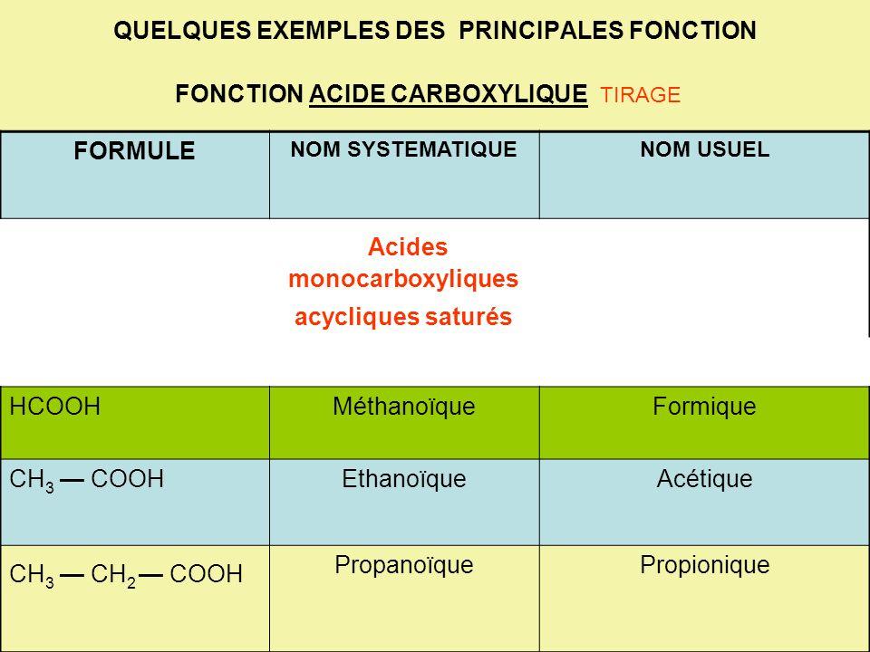 QUELQUES EXEMPLES DES PRINCIPALES FONCTION FONCTION ACIDE CARBOXYLIQUE TIRAGE FORMULE NOM SYSTEMATIQUENOM USUEL Acides monocarboxyliques acycliques sa