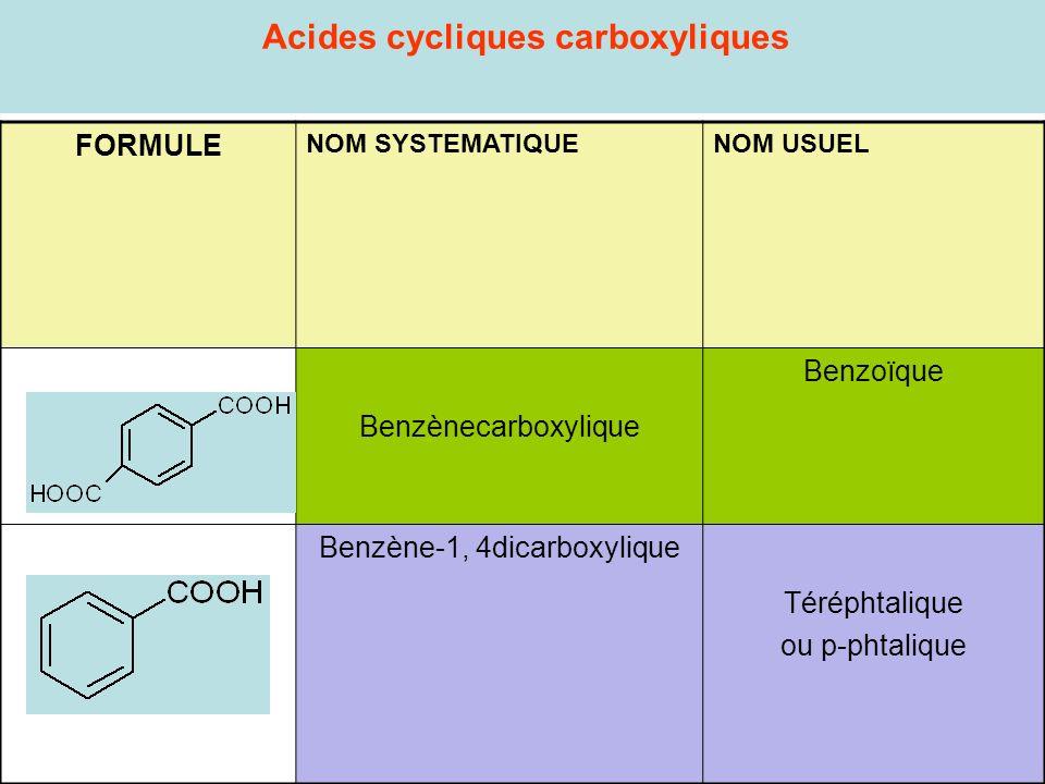 Acides cycliques carboxyliques FORMULE NOM SYSTEMATIQUENOM USUEL Benzènecarboxylique Benzoïque Benzène-1, 4dicarboxylique Téréphtalique ou p-phtalique