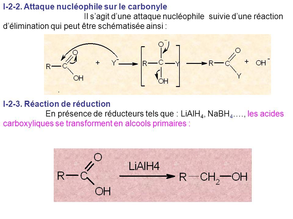 I-2-2. Attaque nucléophile sur le carbonyle Il sagit dune attaque nucléophile suivie dune réaction délimination qui peut être schématisée ainsi : I-2-