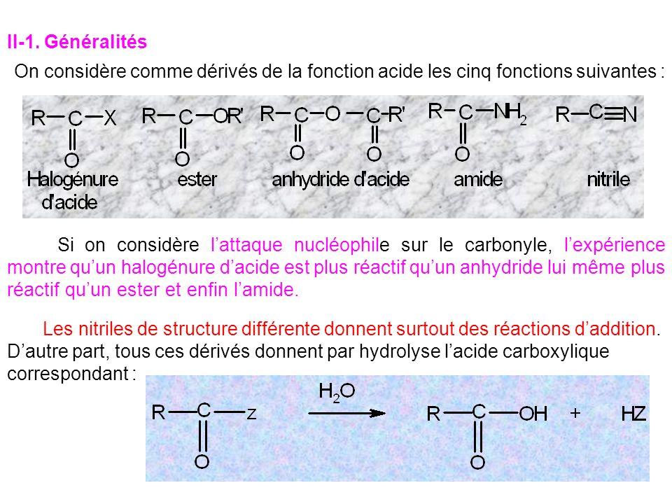 II-1. Généralités On considère comme dérivés de la fonction acide les cinq fonctions suivantes : Si on considère lattaque nucléophile sur le carbonyle