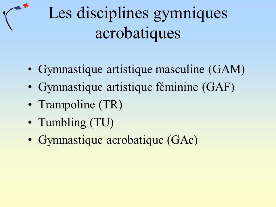 Les disciplines gymniques acrobatiques Gymnastique artistique masculine (GAM) Gymnastique artistique féminine (GAF) Trampoline (TR) Tumbling (TU) Gymn