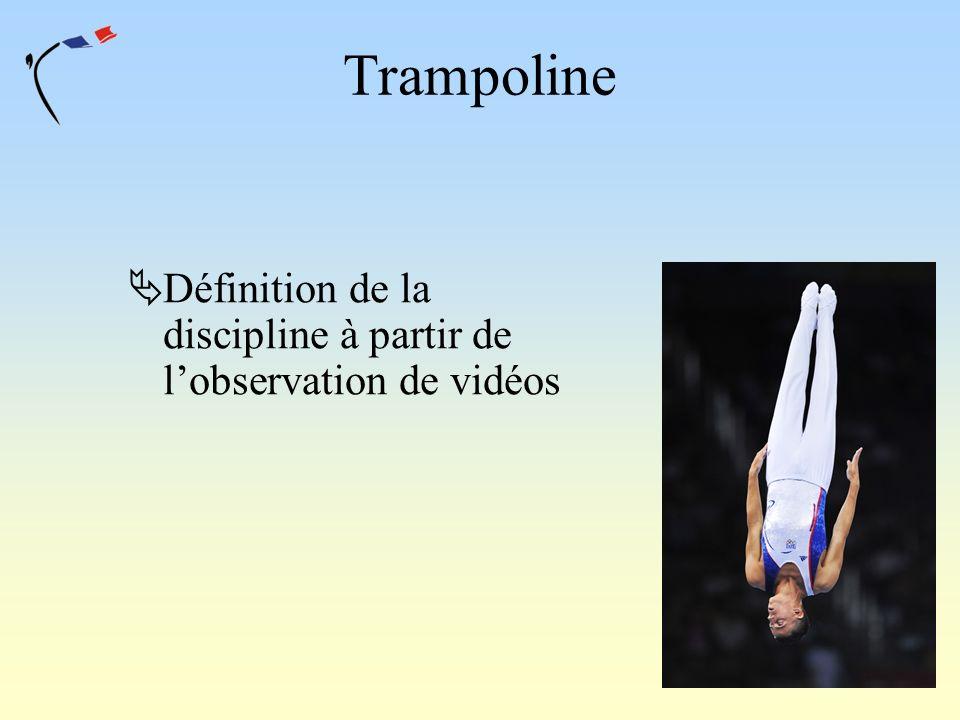 Trampoline Définition de la discipline à partir de lobservation de vidéos