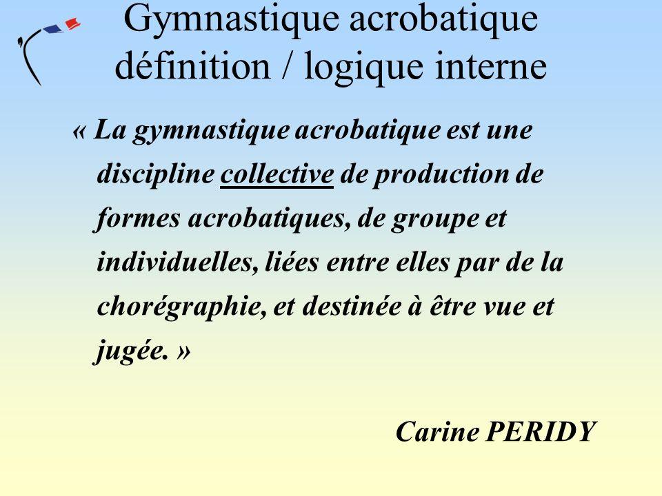 Gymnastique acrobatique définition / logique interne « La gymnastique acrobatique est une discipline collective de production de formes acrobatiques,