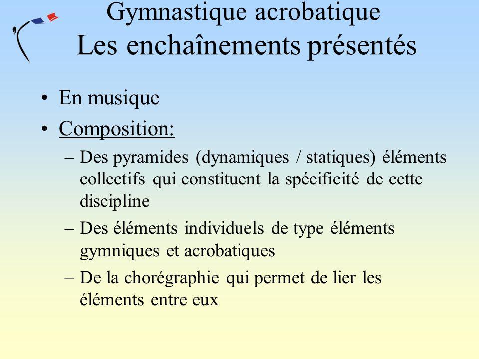 Gymnastique acrobatique Les enchaînements présentés En musique Composition: –Des pyramides (dynamiques / statiques) éléments collectifs qui constituen
