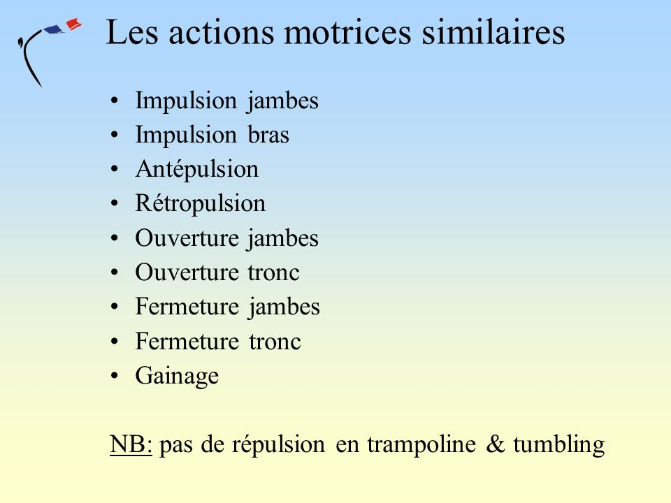 Les actions motrices similaires Impulsion jambes Impulsion bras Antépulsion Rétropulsion Ouverture jambes Ouverture tronc Fermeture jambes Fermeture t