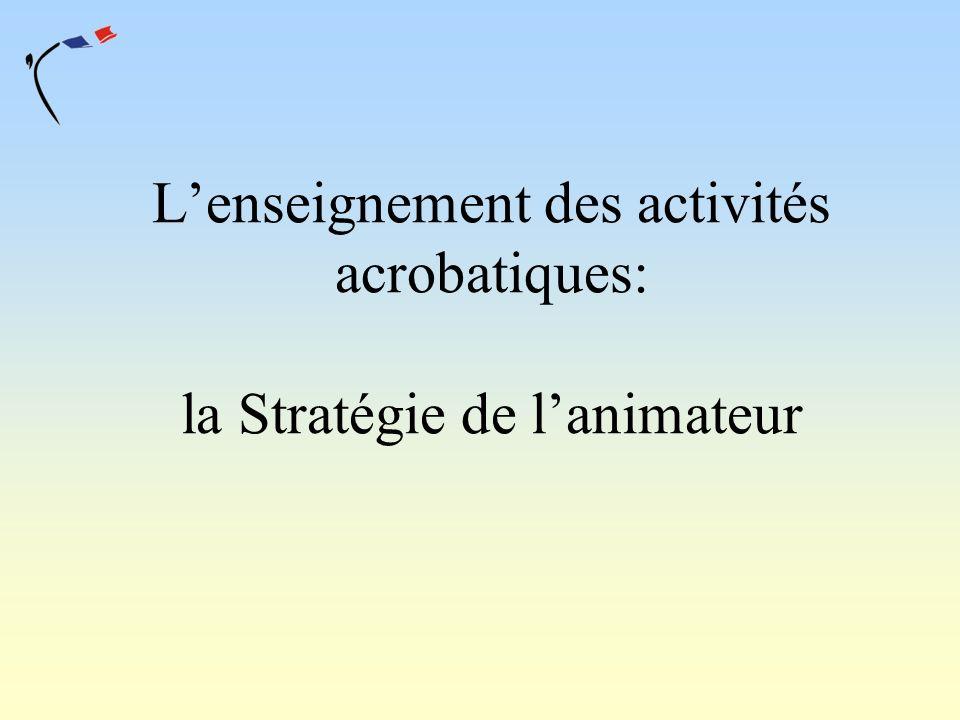 Lenseignement des activités acrobatiques: la Stratégie de lanimateur