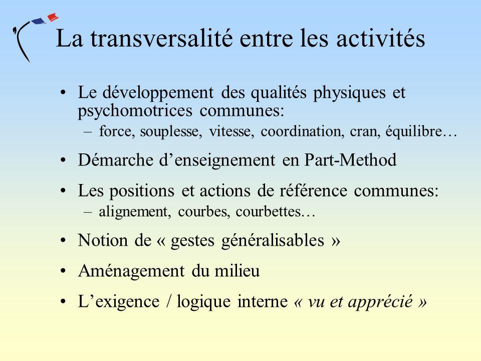 La transversalité entre les activités Le développement des qualités physiques et psychomotrices communes: –force, souplesse, vitesse, coordination, cr