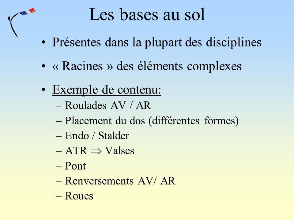 Les bases au sol Présentes dans la plupart des disciplines « Racines » des éléments complexes Exemple de contenu: –Roulades AV / AR –Placement du dos