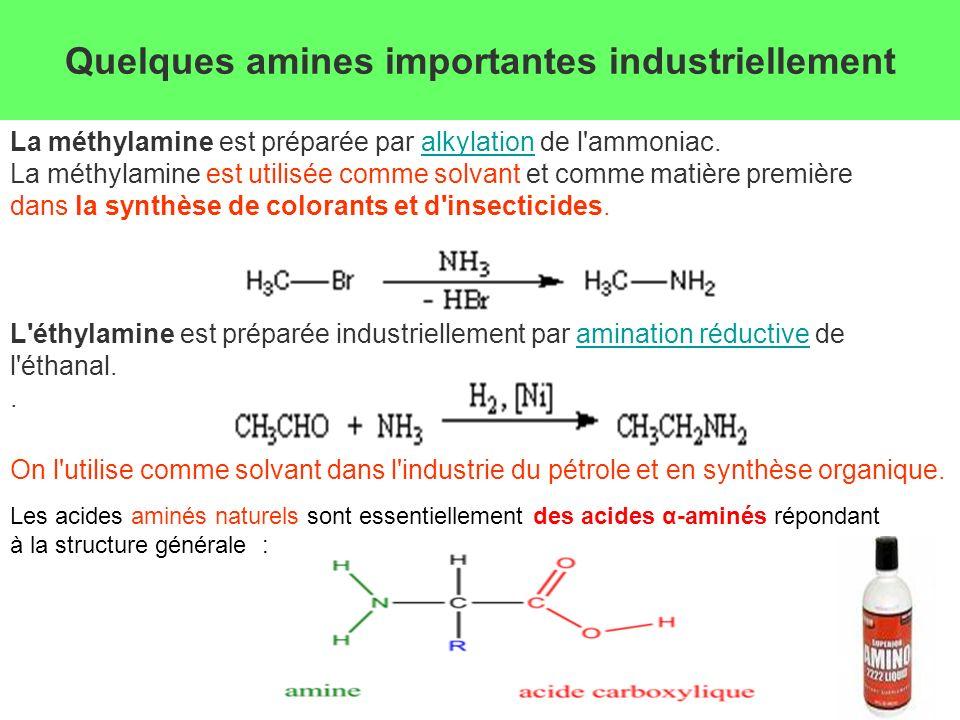 Quelques amines importantes industriellement La méthylamine est préparée par alkylation de l'ammoniac.alkylation La méthylamine est utilisée comme sol