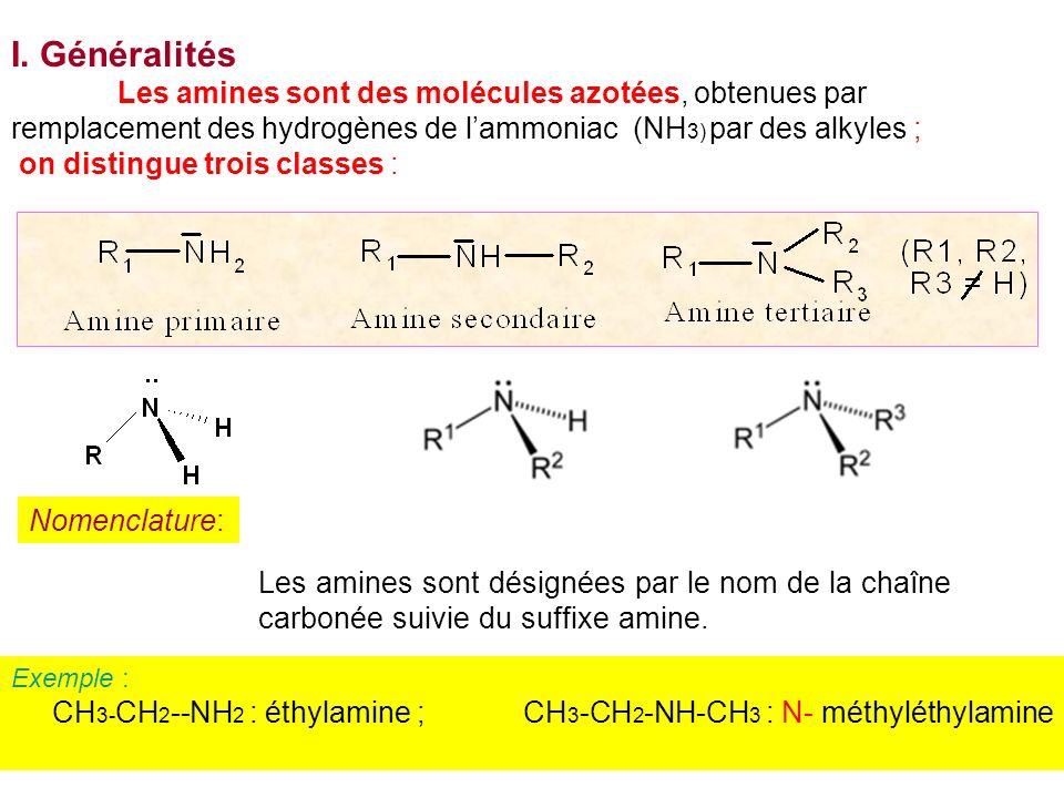 I. Généralités Les amines sont des molécules azotées, obtenues par remplacement des hydrogènes de lammoniac (NH 3) par des alkyles ; on distingue troi