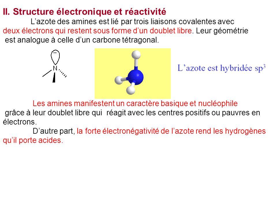 II. Structure électronique et réactivité Lazote des amines est lié par trois liaisons covalentes avec deux électrons qui restent sous forme dun double