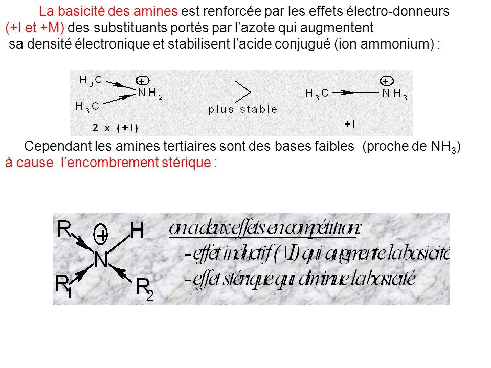 La basicité des amines est renforcée par les effets électro-donneurs (+I et +M) des substituants portés par lazote qui augmentent sa densité électroni