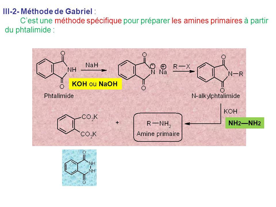 III-2- Méthode de Gabriel : Cest une méthode spécifique pour préparer les amines primaires à partir du phtalimide : KOH ou NaOH NH 2