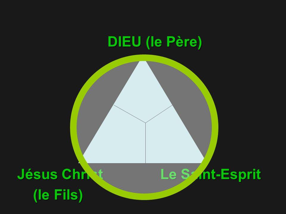 DIEU (le Père) DIEU (le Père) Jésus Christ Le Saint-Esprit (le Fils) (le Fils)