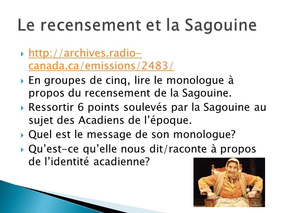 http://archives.radio- canada.ca/emissions/2483/ http://archives.radio- canada.ca/emissions/2483/ En groupes de cinq, lire le monologue à propos du recensement de la Sagouine.