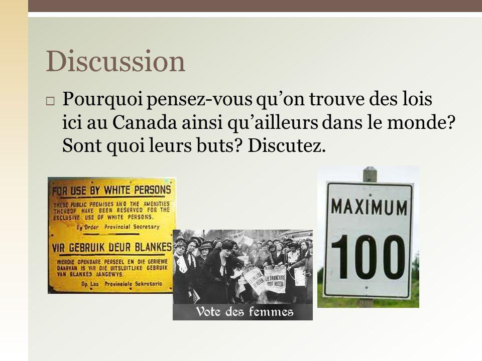 Pourquoi pensez-vous quon trouve des lois ici au Canada ainsi quailleurs dans le monde.