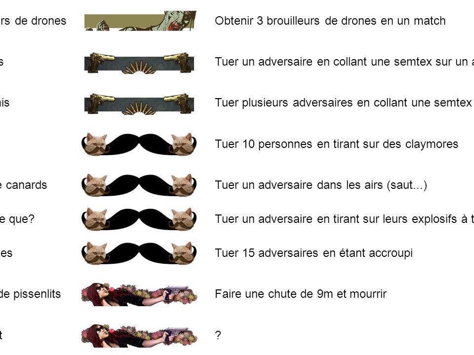 116Brouilleurs de drones Obtenir 3 brouilleurs de drones en un match 117Vrai amis Tuer un adversaire en collant une semtex sur un allié 118Faux amis T