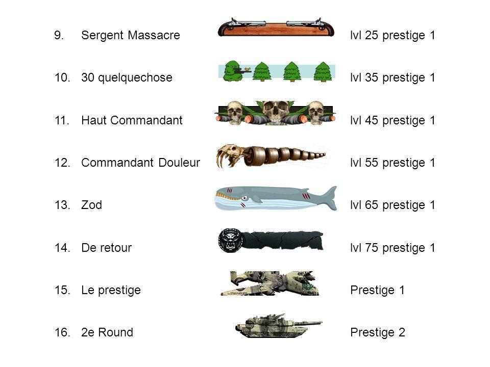 9.Sergent Massacre lvl 25 prestige 1 10.30 quelquechose lvl 35 prestige 1 11.Haut Commandant lvl 45 prestige 1 12.Commandant Douleur lvl 55 prestige 1