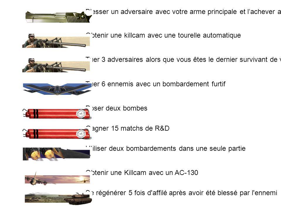 53Cible difficile Faire une série de deux victimes en étant dans les airs 54Par amour de la guerre Obtenez vos 3 séries déliminations en moins de 20 secondes 55Le vengeur Venger un coéquipier 56Patate chaude Tuer 5 ennemis avec des grenades renvoyés 57Le destructeur Tuer le porteur de bombe en R&D ou sabotage 58Tueur technologique Obtenir la killcam avec un bombardement furtif 59OG Obtenir la killcam avec un hélicoptère de combat 60Un sourire pour la caméra Obtenir la killcam avec un missile prédator 61Incroyable Obtenir la killcam avec un couteau de lancer