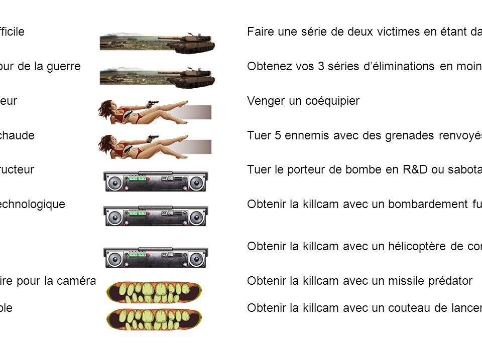 152Intergalactique Remporter 20 parties de sabotage 153Explosion Faire 25 headshots avec une mitraillette 154 Tuer 2 adversaires ou plus avec une grenade à fragmentation (25 fois) 155Ta-Da.