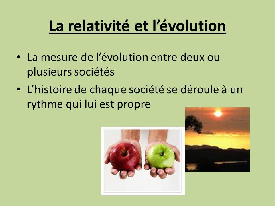 La relativité et lévolution La mesure de lévolution entre deux ou plusieurs sociétés Lhistoire de chaque société se déroule à un rythme qui lui est propre