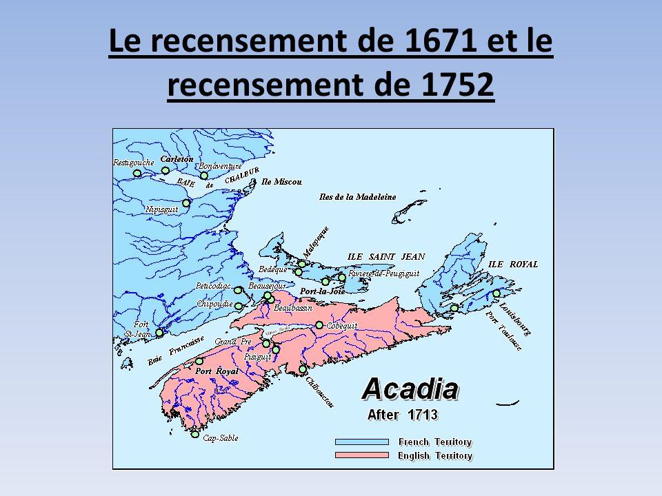 Le recensement de 1671 et le recensement de 1752