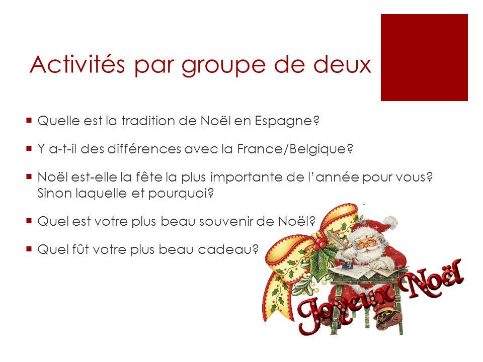 Activités par groupe de deux Quelle est la tradition de Noël en Espagne? Y a-t-il des différences avec la France/Belgique? Noël est-elle la fête la pl