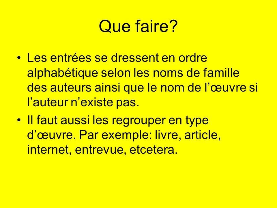 Exemples Livre ayant un auteur Dubois, M.(1980). Les amitiés acadiennes.