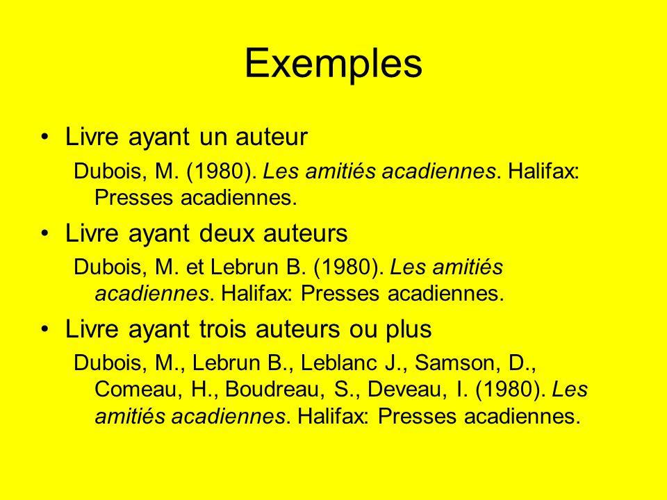 Exemples Livre ayant un auteur Dubois, M. (1980). Les amitiés acadiennes. Halifax: Presses acadiennes. Livre ayant deux auteurs Dubois, M. et Lebrun B