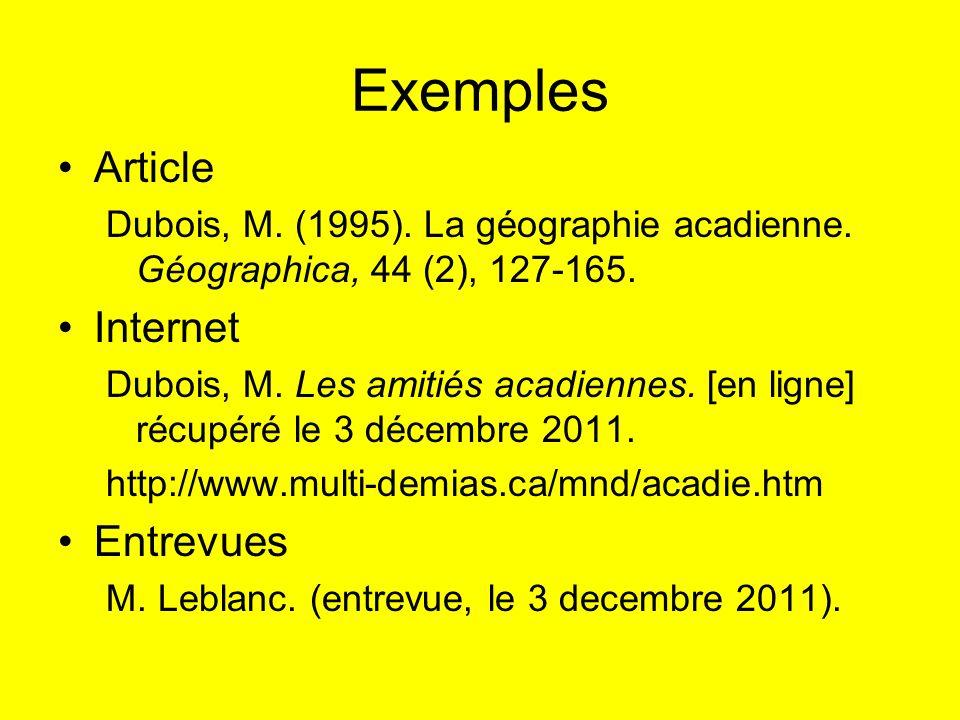 Exemples Article Dubois, M. (1995). La géographie acadienne. Géographica, 44 (2), 127-165. Internet Dubois, M. Les amitiés acadiennes. [en ligne] récu