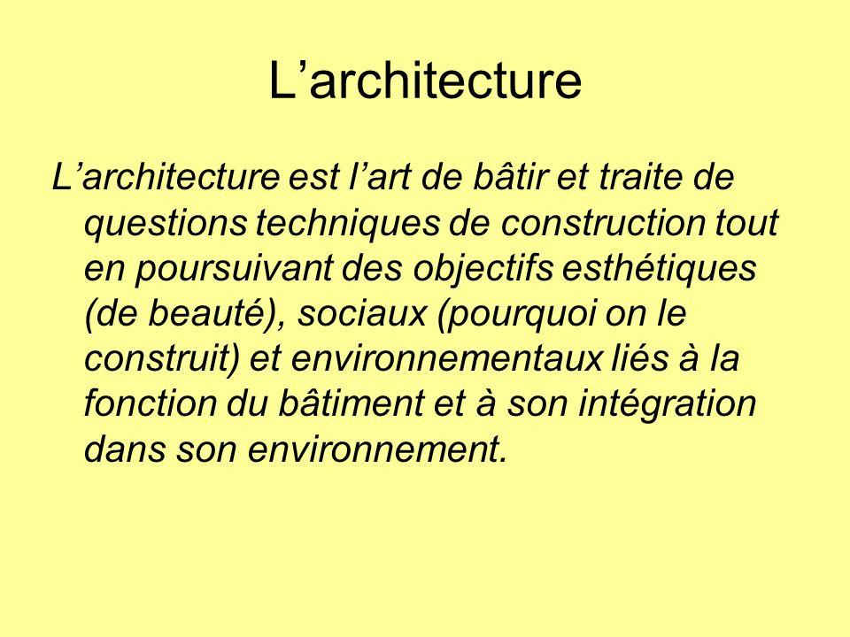 Larchitecture Larchitecture est lart de bâtir et traite de questions techniques de construction tout en poursuivant des objectifs esthétiques (de beau