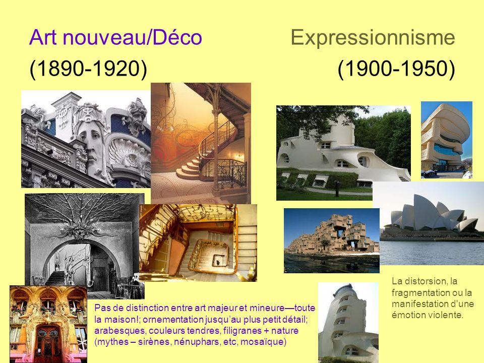 Art nouveau/Déco Expressionnisme (1890-1920) (1900-1950) Pas de distinction entre art majeur et mineuretoute la maison!; ornementation jusquau plus pe