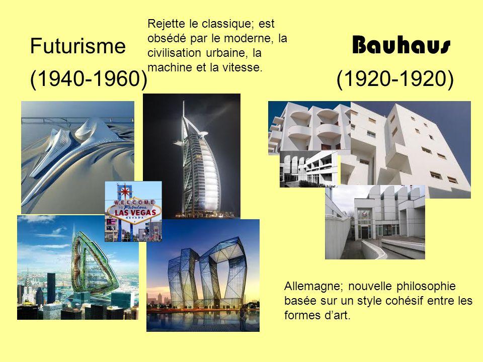 Futurisme Bauhaus (1940-1960) (1920-1920) Rejette le classique; est obsédé par le moderne, la civilisation urbaine, la machine et la vitesse. Allemagn