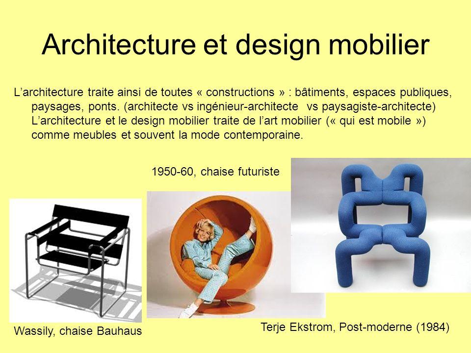 Architecture et design mobilier Larchitecture traite ainsi de toutes « constructions » : bâtiments, espaces publiques, paysages, ponts. (architecte vs