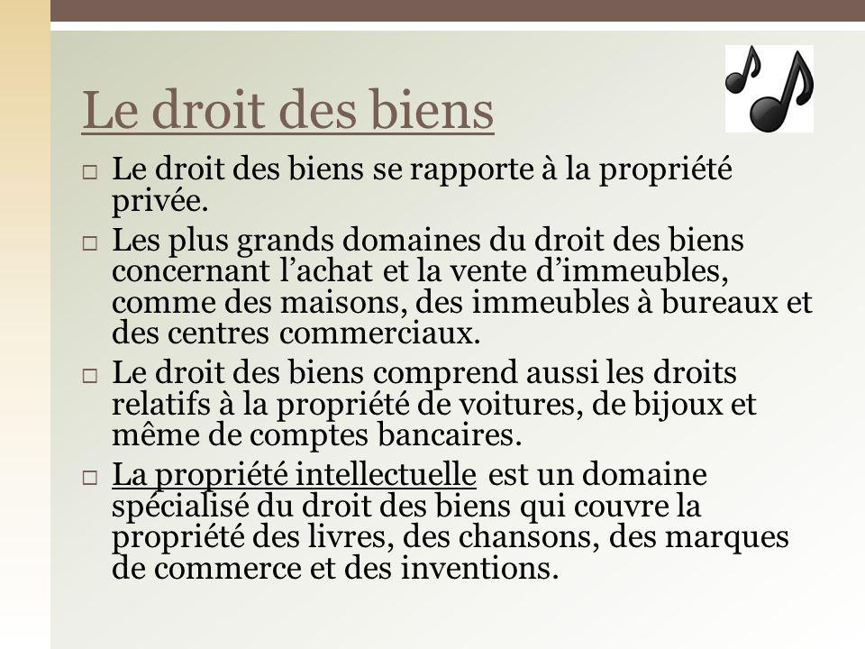 Le droit des biens se rapporte à la propriété privée. Les plus grands domaines du droit des biens concernant lachat et la vente dimmeubles, comme des