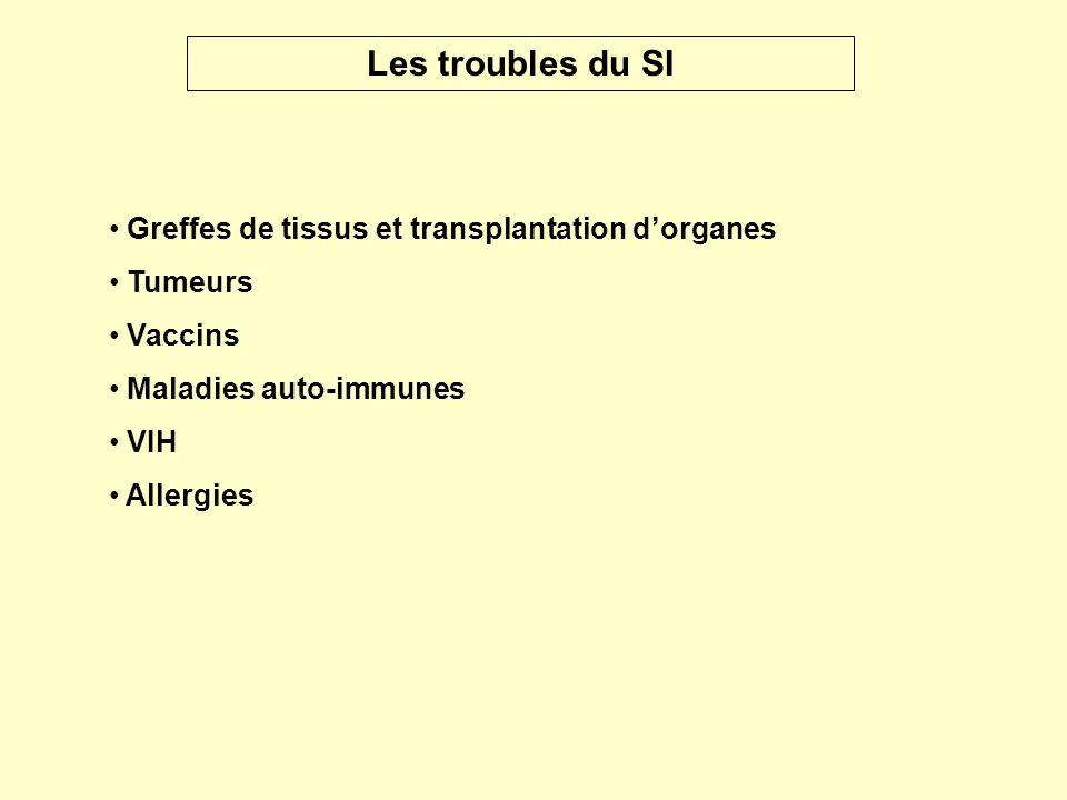 Greffes de tissus et transplantation dorganes Tumeurs Vaccins Maladies auto-immunes VIH Allergies Les troubles du SI