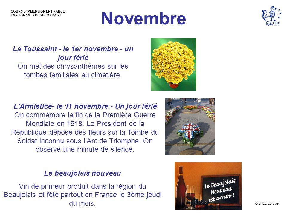 © LFEE Europe COURS DIMMERSION EN FRANCE ENSEIGNANTS DE SECONDAIRE Novembre La Toussaint - le 1er novembre - un jour férié On met des chrysanthèmes su