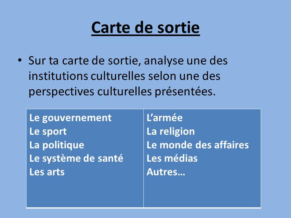 Carte de sortie Sur ta carte de sortie, analyse une des institutions culturelles selon une des perspectives culturelles présentées. Le gouvernement Le
