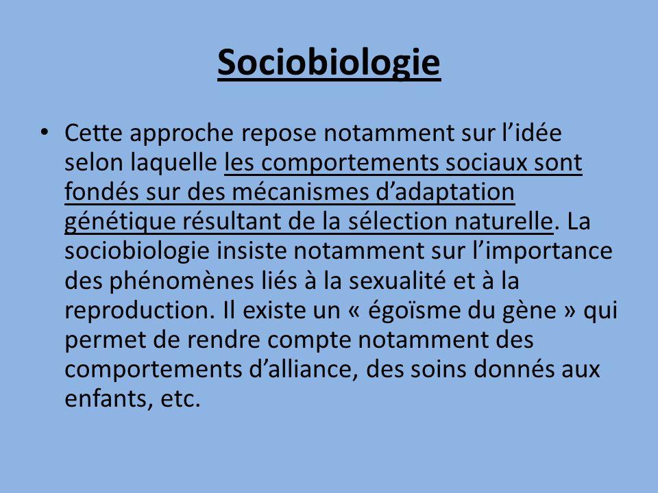 Sociobiologie Cette approche repose notamment sur lidée selon laquelle les comportements sociaux sont fondés sur des mécanismes dadaptation génétique