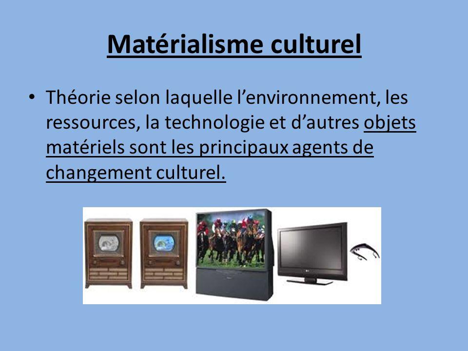Matérialisme culturel Théorie selon laquelle lenvironnement, les ressources, la technologie et dautres objets matériels sont les principaux agents de
